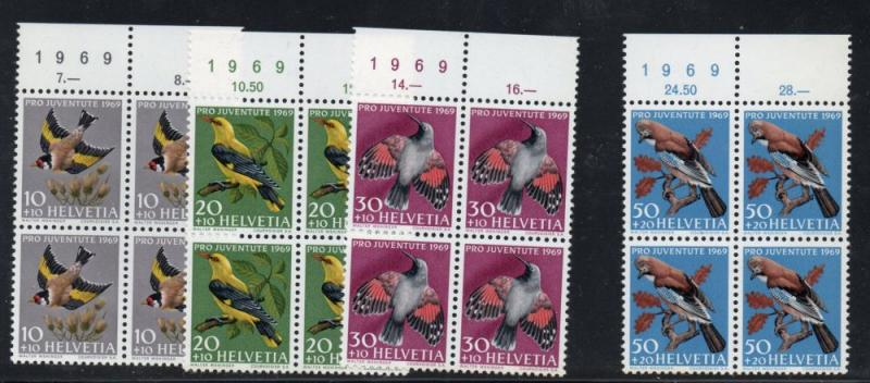 Switzerland Sc B386-9 1969 Pro Juventute Birds stamp set mint NH Blocks of 4