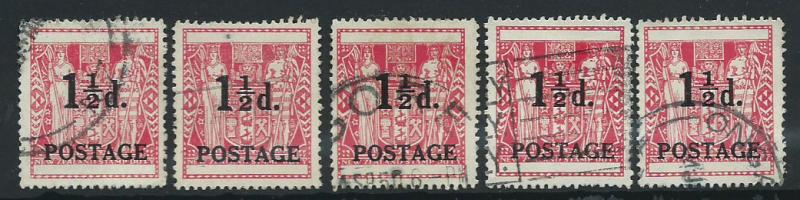 New Zealand SG 700  Used  5 examples shades wmk unchecked
