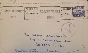 O) 1930 SOUTH AFRICA, SUIDAFRIKA, TAX, REDRAWN, PRACTISE ROAD SAFETY DAILY, DURB