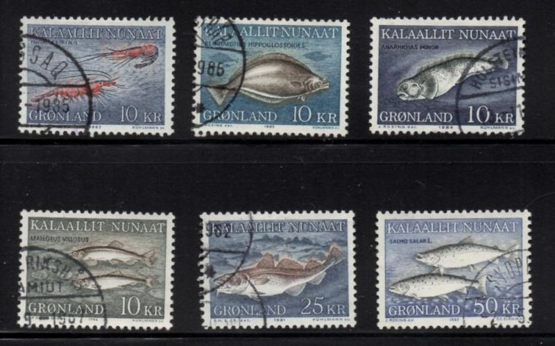 Greenland Sc 136-41 1981-6 Fish stamp set used