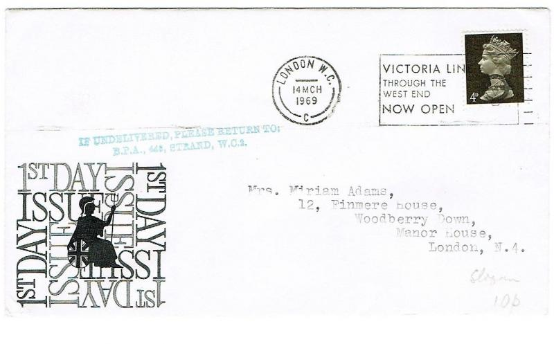 GREAT BRITAIN 1969 - LONDON POSTMARK WITH VICTORIA LINE SLOGAN