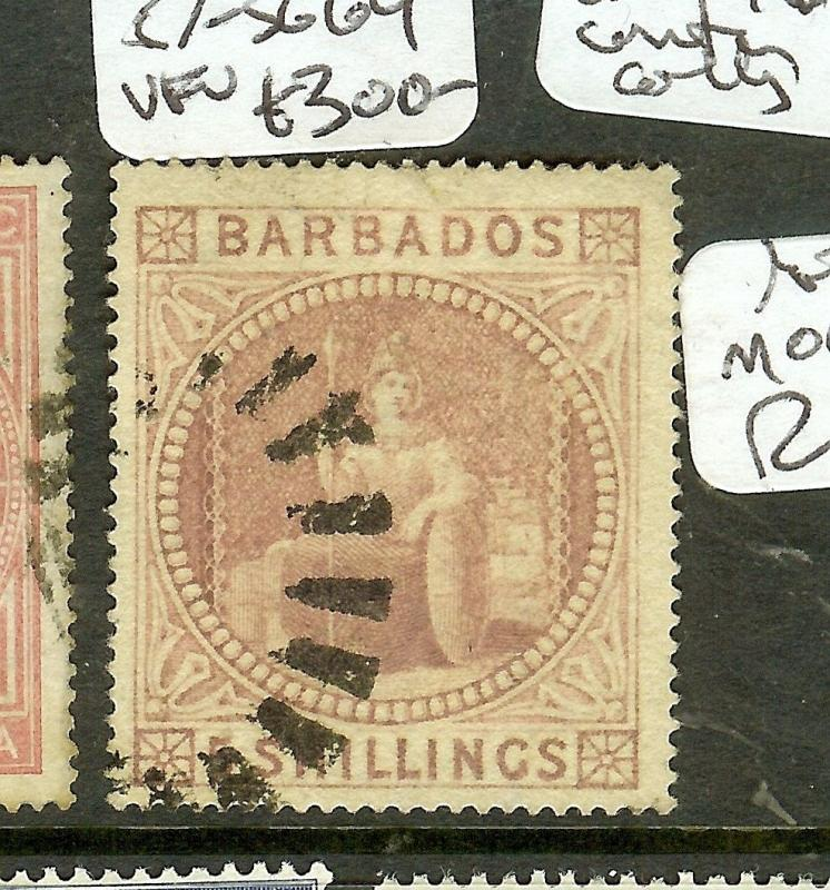 BARBADOS (P2012B) 5/- SG64 VFU  CENTERRED FOR THIS STAMP!!!