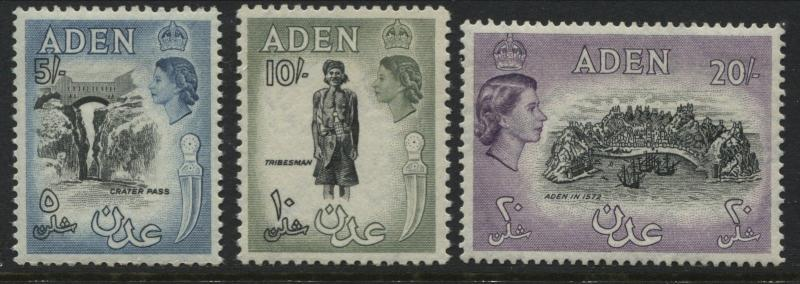 Aden QEII 1954-57 5/ to 20/ mint o.g. hinged