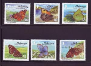 Alderney Sc 313-8 2008 Butterflies stamp set mint NH