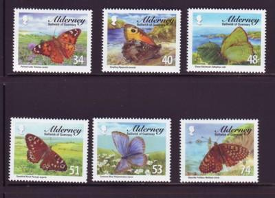Alderney Sc 313-8 2008 Butterflies stamp set mint NH
