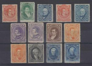 ARGENTINA 1867-73 ABNCo Sc 18-26 & 22a (13x) FULL SET MINT & UNUSED SCV$1,092+