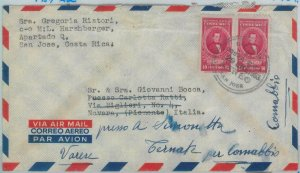 81579 - COSTA RICA - Postal History - Airmail COVER to ITALY 1953
