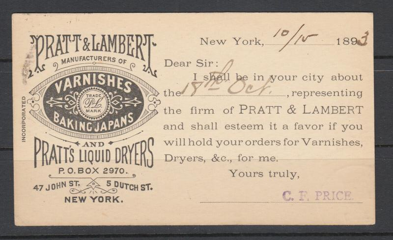 US, UX9 1893 Illustrated Advertising Will Call Card, Varnishes Baking Japans NYC