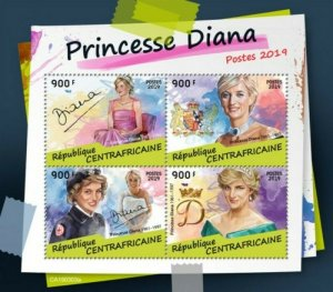 Central Africa - 2019 British Royalty Princess Diana - 4 Stamp Sheet - CA190303a