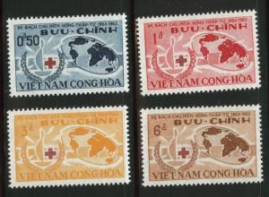 Vietnam Scott 219-222 1963 Red Cross Centennial set MH*, tropical gum
