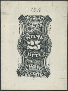 HAWAII #R1TC 1877 25¢ REVENUE LRG DIE TRIAL COLOR PROOF BLACK SUPERB GEM WLM438
