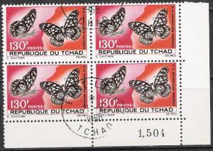 Chad #142 Butterflies Corner Block CTO NH