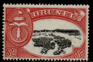 BRUNEI GVI SG112, $2 black & scarlet, FINE USED.