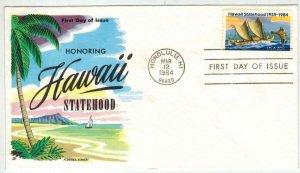 FLUEGEL HAWAII STATEHOOD #2080 Stamp Issue 1984 on C55 Cachet Nice Color!