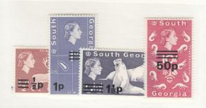 SOUTH GEORGIA # 17a,18-19 & 30 VF-MNH SURCHARGES CAT VALUE $40++