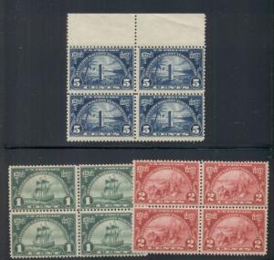 US #614-16 Complete set, Blocks of 4, og, NH, VF, Scott $155.00
