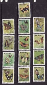 Namibia-Sc#742-54 ex 745A- id8-unused NH set-Insects-Butterflies-1993-