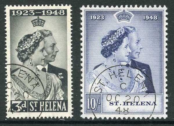 St Helena SG143/4 1948 Royal Silver Wedding Set Very Fine Used
