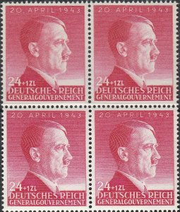 Stamp Germany Poland General Gov't Mi 102 Sc NB25 Block 1943 WW2 War Hitler MNH