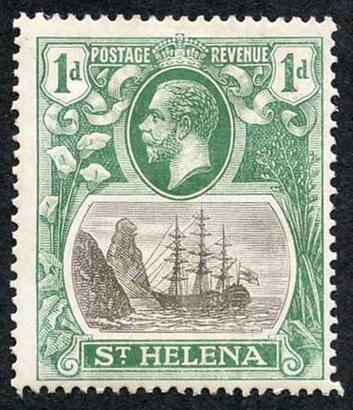 St Helena SG98c 1922-37 1d Grey & Green with Cleft Rock Variety M/M