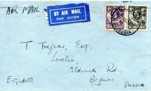 1933 Northern Rhodesia Sg 6/7 4d & 6d Air Mail Cover to Bognor via Cairo