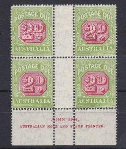 PDA52) 1931-37 C of A wmk perf 14 2d Carmine & yellow green Ash imprint blk of 4