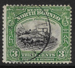 NORTH BORNEO SG163 1923 3c BLACK & GREEN USED