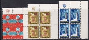 United Nations -New York #  146-150, Inscription Blocks of Four, NH, 1/3 Cat.