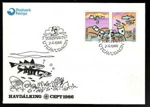 Faroe Is-Sc#143-4-First Day cover-Europa 1986-