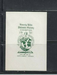 Beverly Hills Philatelic Society Chicago Stamp Exibition Label 1937