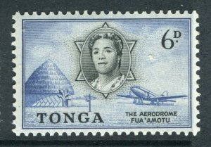 TONGA; 1953 early QEII issue fine Mint hinged 6d. value