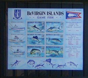 British Virgin Islands 1972 Game Fish Miniature sheet MNH