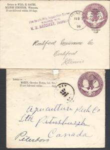 U349(2),1893, 1896 Pmks, Postal Stationary-Entires & Wrap...