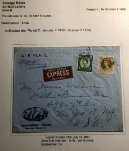1961 Grosvenor House London England Airmail Express Cover To New York Usa