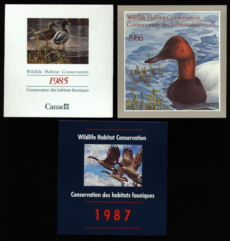 Canada 3 Ducks Booklets 1985,1986,1987 GORGEOUS