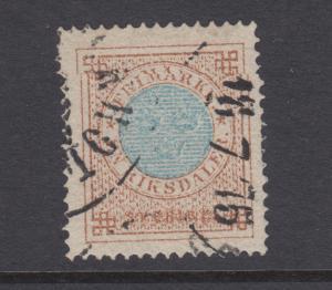 Sweden Sc 27 used. 1872 1rd bistre & blue, VF