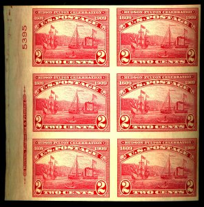 U.S. #372 MINT PL# BLOCK OF 6 OG NH