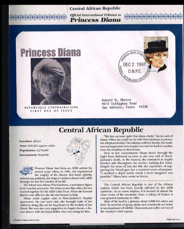 1997 - Central Africa FDC - Famous People - Royalty - Tribute to Princess Dia...