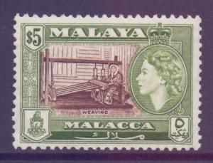 Malaya Malacca Scott 55 - SG49, 1957 Elizabeth II $5 MH*