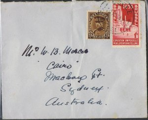 1935 1f Exhibition & 75c Albert I on cover to Australia TS368