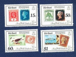 KIRIBATI - Scott 536-539 - FVF MNH - Stamp-on-Stamp - 1990