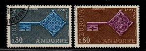 Andorra (Fr) Sc 182-83 1968 Europa stamp set used