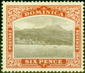 Dominica 1907 6d Black & Chestnut SG42 Fine Mtd Mint