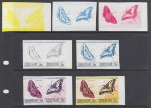Union Island Sc 194 MNH. 1985 15c Butterflies, 7 Progressive Proof Pairs