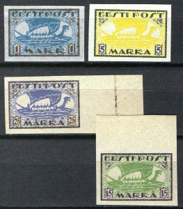 Estonia 1919-20, Vikingships, Mi 12y,13x, 23B, 24B, All MNH Cat +34,5€ (E10007)