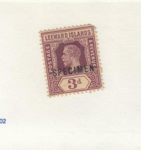 LEEWARD ISLANDS # 58 VF-MH KGV 3d  SPECIMEN O/PRINT CAT VALUE $85