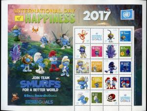 UNITED NATIONS 2017 INT'L DAY OF HAPPINESS VIENNA SMURFS PERSONALIZED SHEET