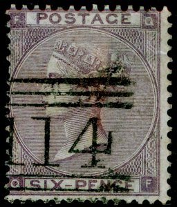 SG84, 6d lilac plate 3, FINE USED. Cat £140. QF