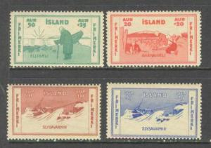 ICELAND Sc# B1 - B4 MH FVF Set4 Shipwreck Breeches Buoy Ship