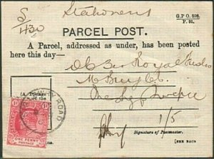 CAPE OF GOOD HOPE 1906 EVII 1d on parcel post receipt SIR LOWRY ROAD cds...77418